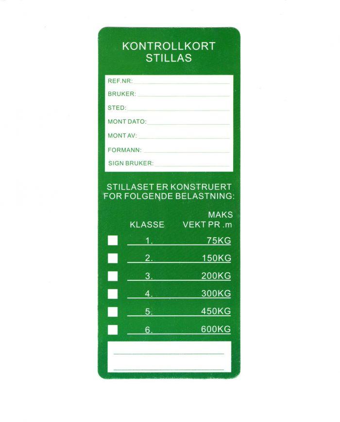 Stillas kontrollkort godkjenningskort